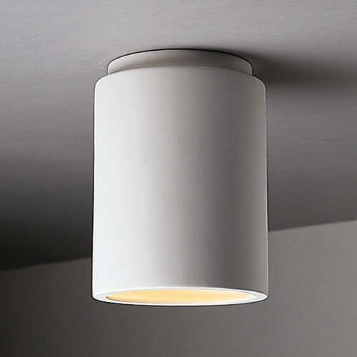 Justice Design Group Flushmount Light with White Shade in Bisque Finish CER-6100-BIS