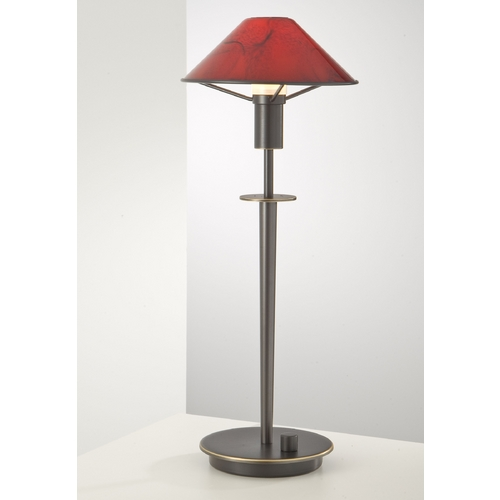 Holtkoetter Lighting Holtkoetter Modern Table Lamp with Red Glass in Hand-Brushed Old Bronze Finish 6514 HBOB MGR