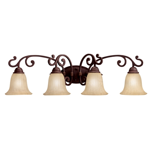 Kichler Lighting Kichler Bathroom Light with Beige / Cream Glass in Carre Bronze Finish 5990CZ