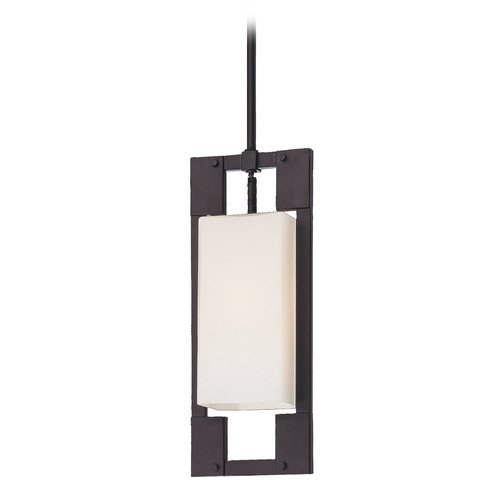 Troy Lighting Modern Outdoor Hanging Light with White Glass in Forged Iron Finish FF4018FI