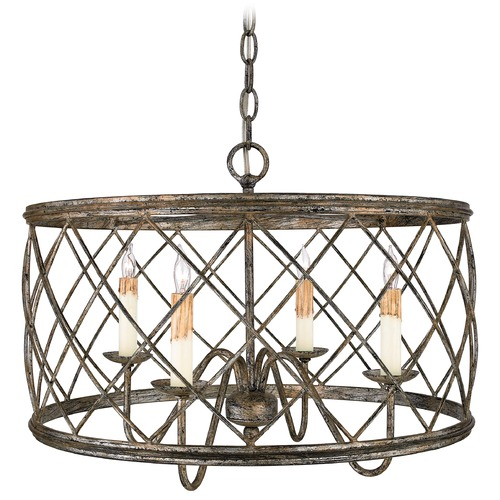 Quoizel Lighting Drum Pendant Light with Silver Cage Shade in Century Silver Leaf Fin RDY2821CS