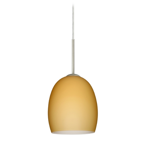 Besa Lighting Modern Pendant Light with Beige / Cream Glass in Satin Nickel Finish 1JT-1697VM-SN