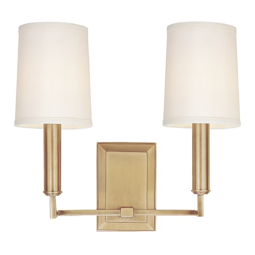 Hudson Valley Lighting Modern Sconce Wall Light with White Shades in Aged Brass Finish 812-AGB