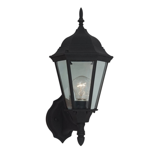 Sea Gull Lighting Outdoor Wall Light with Clear Glass in Black Finish 88941-12