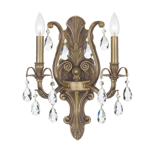 Crystorama Lighting Crystal Sconce Wall Light in Antique Brass Finish 5563-AB-CL-SAQ