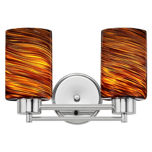 Design Classics Lighting Modern Bathroom Light with Brown Art Glass in Chrome Finish 702-26 GL1023C