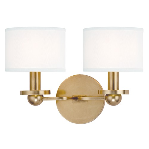 Hudson Valley Lighting Kirkwood 2 Light Sconce Drum Shade - Aged Brass 1512-AGB-WS