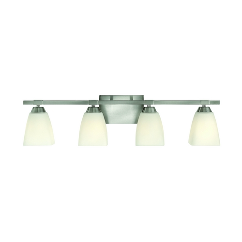 Hinkley Lighting Modern Bathroom Light with White Glass in Brushed Nickel Finish 51354BN