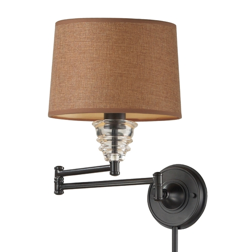 Elk Lighting Swing Arm Lamp with Brown Shade in Oiled Bronze Finish 66814-1