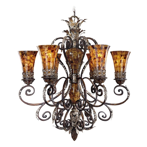 Metropolitan Lighting Chandelier with Amber Glass in Cattera Bronze Finish N6516-468
