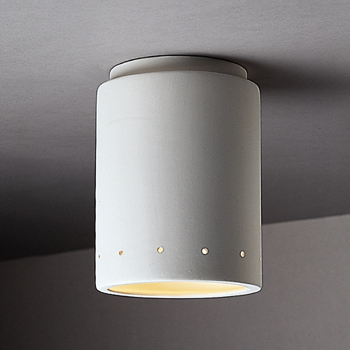 Justice Design Group Flushmount Light with White Shade in Bisque Finish CER-6105-BIS