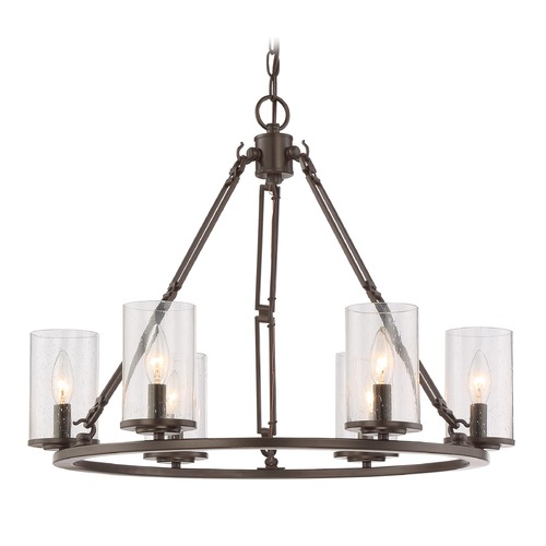 Quoizel Lighting Seeded Glass Chandelier Bronze Quoizel Lighting BCN5006WT