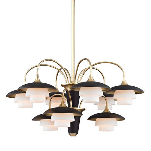 Hudson Valley Lighting Mid-Century Modern Chandelier Brass Barron by Hudson Valley Lighting 1009-AGB