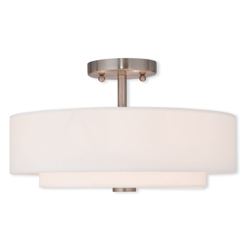 Livex Lighting Livex Lighting Claremont Brushed Nickel Semi-Flushmount Light 51044-91