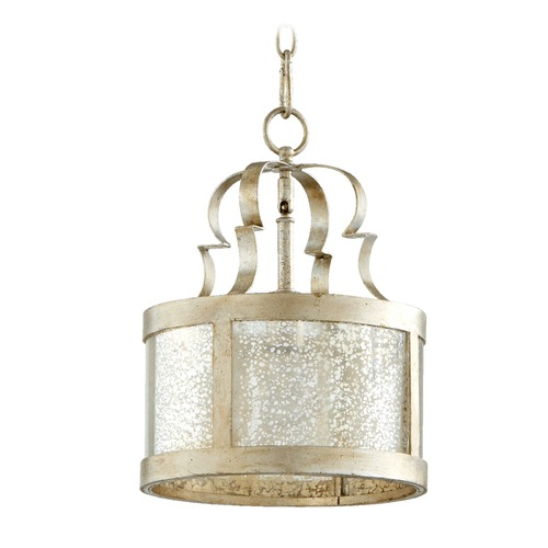 Quorum Lighting Quorum Lighting Champlain Aged Silver Leaf Pendant Light with Drum Shade 3081-60