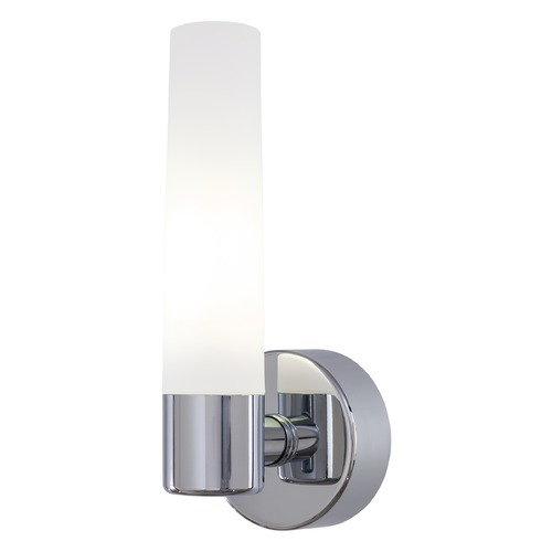 George Kovacs Lighting Modern Sconce with White Glass Shade in Chrome Finish P5041-077-PL
