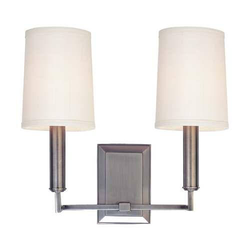 Hudson Valley Lighting Modern Sconce Wall Light with White Shades in Antique Nickel Finish 812-AN