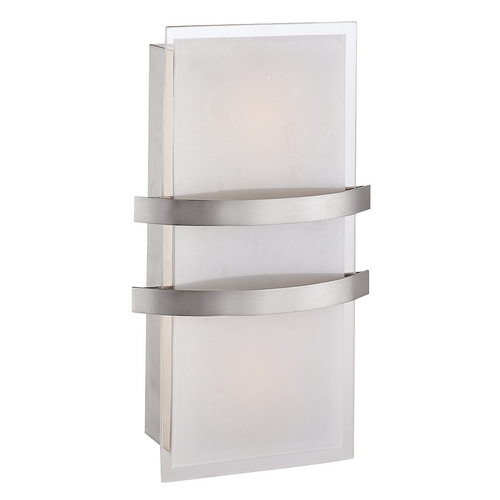 Access Lighting Sconce Wall Light with White Glass in Brushed Steel Finish 62218-BS/OPL