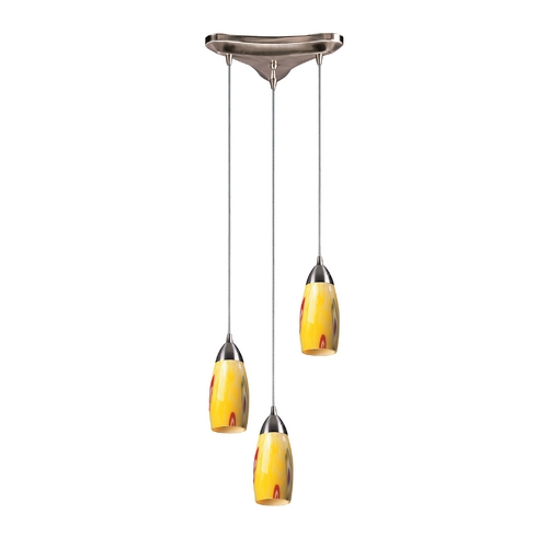 Elk Lighting Modern Multi-Light Pendant Light with Art Glass and 3-Lights 110-3YW