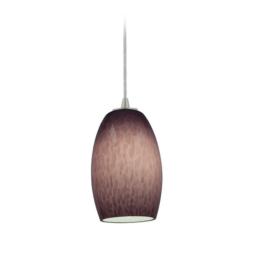Access Lighting Modern Mini-Pendant Light with Purple Glass 28078-2C-BS/PLC