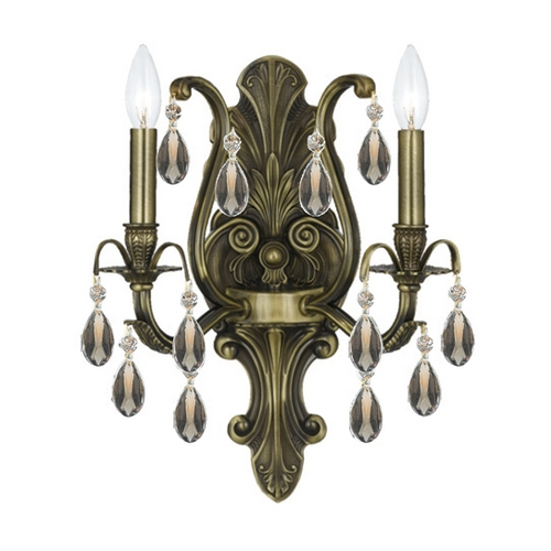 Crystorama Lighting Crystal Sconce Wall Light in Antique Brass Finish 5563-AB-GT-MWP