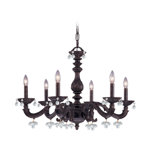 Crystorama Lighting Crystal Chandelier in Venetian Bronze Finish 5226-VB-CLEAR