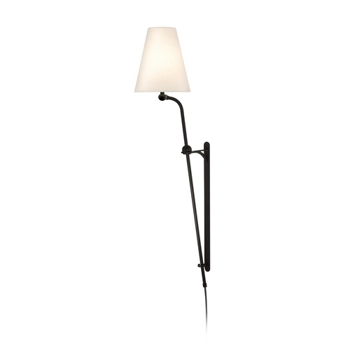 Sonneman Lighting Pin-Up Lamp with White Shade in Black Bronze Finish 1805.32