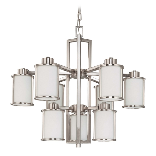 Nuvo Lighting Chandelier with White Glass in Brushed Nickel Finish 60/2855