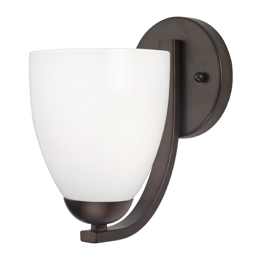 Design Classics Lighting Sconce Wall Light with Opal White Bell Glass Shade in Bronze Finish 585-220 GL1024MB