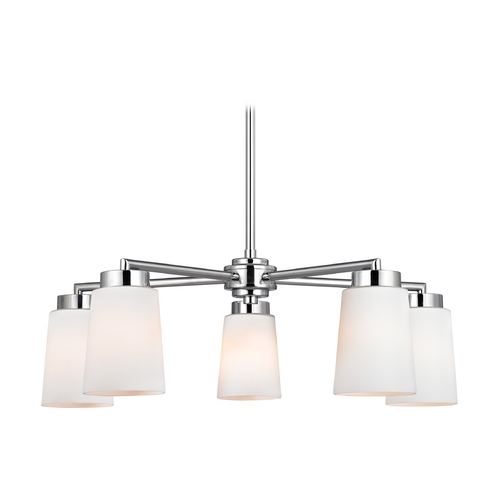 Design Classics Lighting Modern Chandelier with White Glass in Polished Chrome Finish 590-26 GL1027