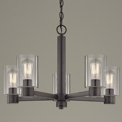 Design Classics Lighting Clear Glass Chandelier Bronze 5-Lt 2105-220 GL1040C
