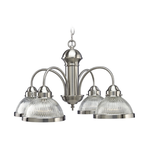 Progress Lighting Progress Chandelier with Clear Glass in Brushed Nickel Finish P4095-09