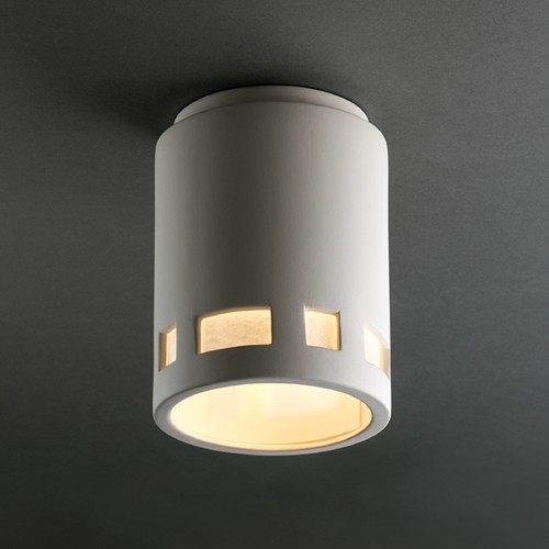 Justice Design Group Flushmount Light with White Shade in Bisque Finish CER-6107-BIS