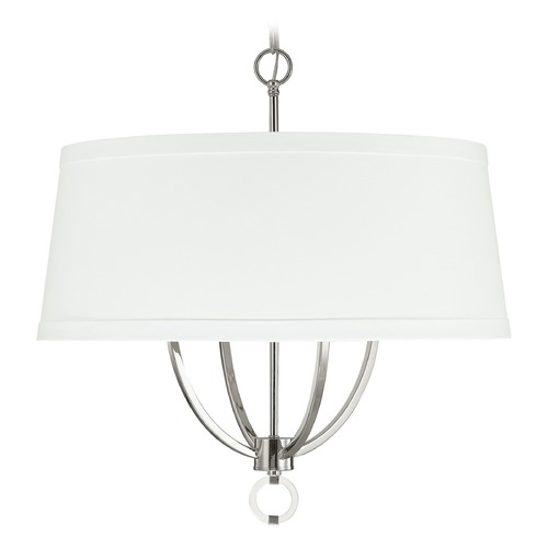 Capital Lighting Capital Lighting Taylor Polished Nickel Pendant Light with Drum Shade 4594PN-592
