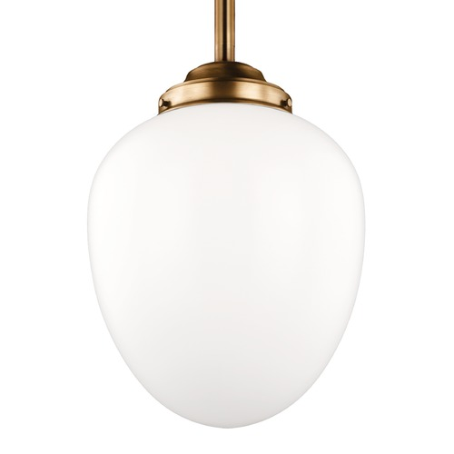 Feiss Lighting Feiss Alcott Aged Brass Pendant Light with Oval Shade P1402AGB