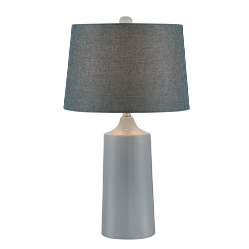 Lite Source Lighting Lite Source Raewyn Smoke Blue Ceramic Table Lamp with Drum Shade LS-22878
