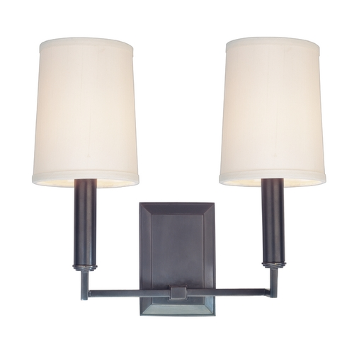 Hudson Valley Lighting Modern Sconce Wall Light with White Shades in Old Bronze Finish 812-OB