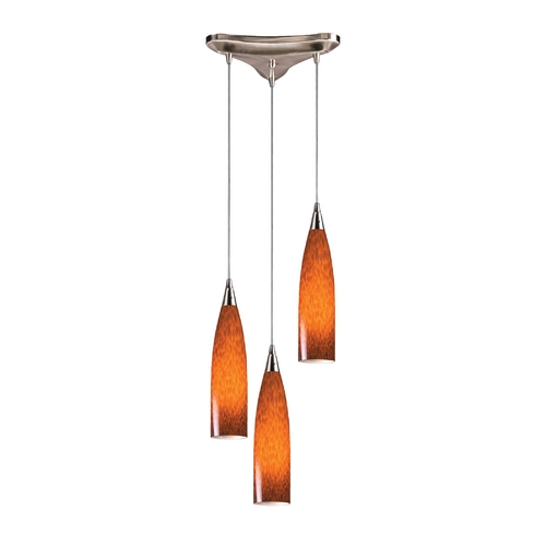 Elk Lighting Modern Multi-Light Pendant Light with Art Glass and 3-Lights 501-3ES