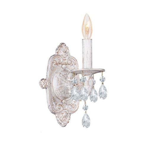 Crystorama Lighting Crystal Sconce Wall Light in Antique White Finish 5021-AW-CL-MWP