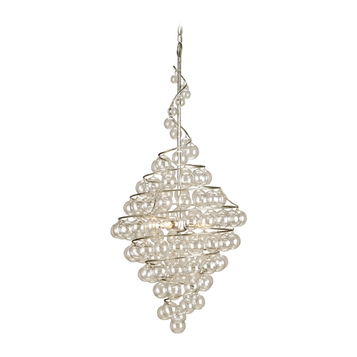 Currey and Company Lighting Pendant Light in Contemporary Silver Leaf Finish 9001