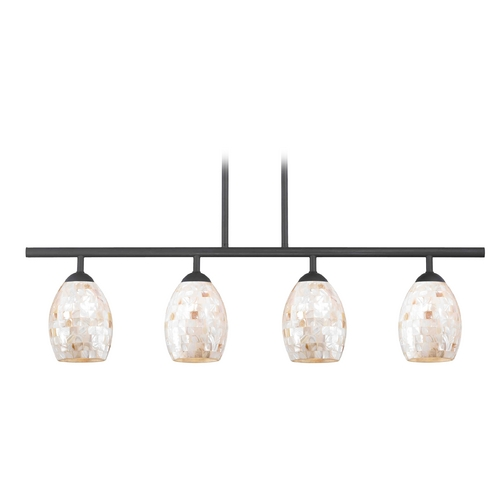Design Classics Lighting Island Light with Beige / Cream Glass in Matte Black Finish 718-07 GL1034