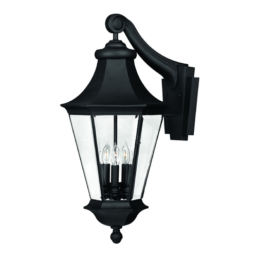 Hinkley Lighting Outdoor Wall Light with Clear Glass in Black Finish 2505BK