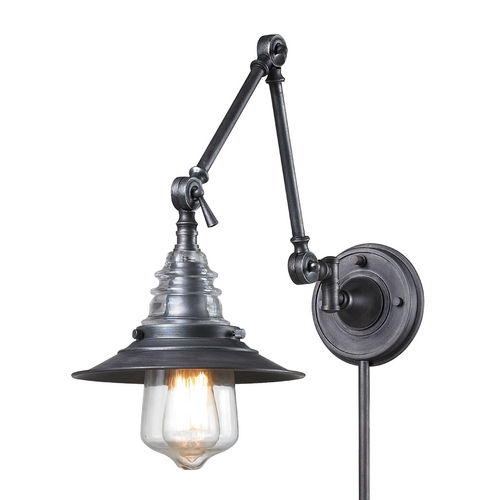 Elk Lighting Swing Arm Lamp in Weathered Zinc Finish 66826-1