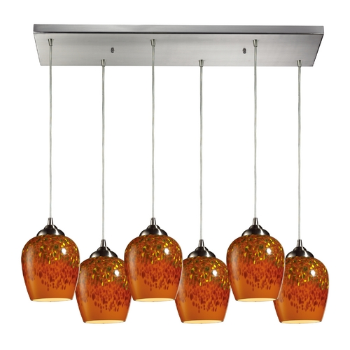 Elk Lighting Modern Multi-Light Pendant Light with Brown Glass and 6-Lights 10145/6RC-AUT