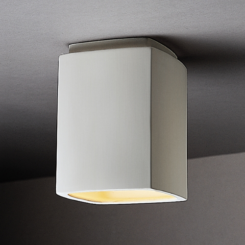 Justice Design Group Flushmount Light with White Shade in Bisque Finish CER-6110-BIS