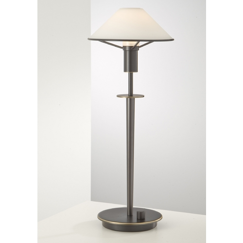 Holtkoetter Lighting Holtkoetter Modern Table Lamp with White Glass in Hand-Brushed Old Bronze Finish 6514 HBOB TRW
