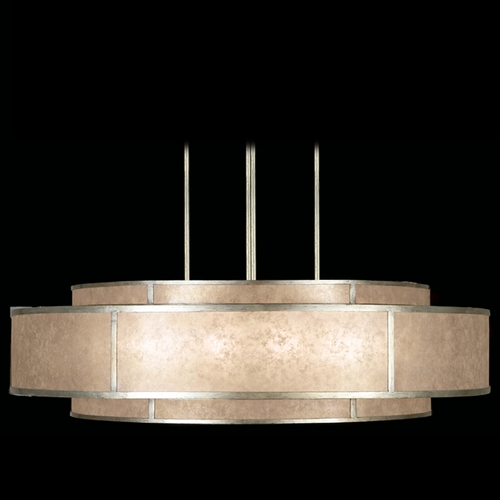 Fine Art Lamps Fine Art Lamps Singapore Moderne Silver Leaf Pendant Light with Drum Shade 600140-2ST