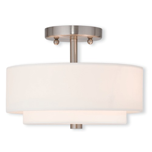 Livex Lighting Livex Lighting Claremont Brushed Nickel Semi-Flushmount Light 51042-91
