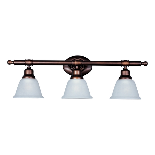 Maxim Lighting Bathroom Light with White Glass in Oil Rubbed Bronze Finish 7143FTOI