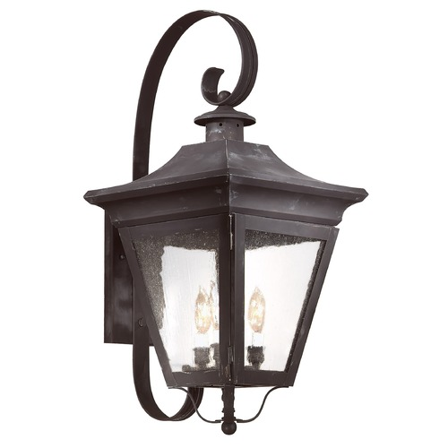 Troy Lighting Outdoor Wall Light with Clear Glass in Charred Iron Finish B8933CI